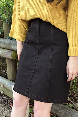 stitch button, skirt