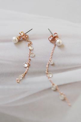 pink drop, earring