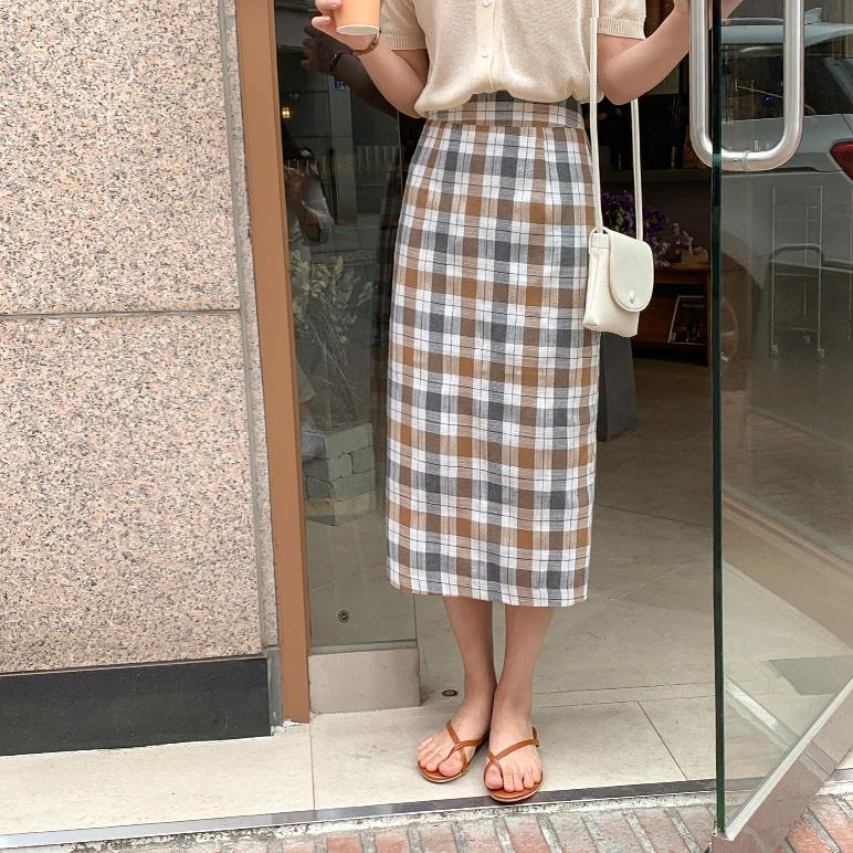 チェックHラインスカート