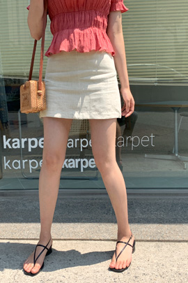 リネンショートスカート