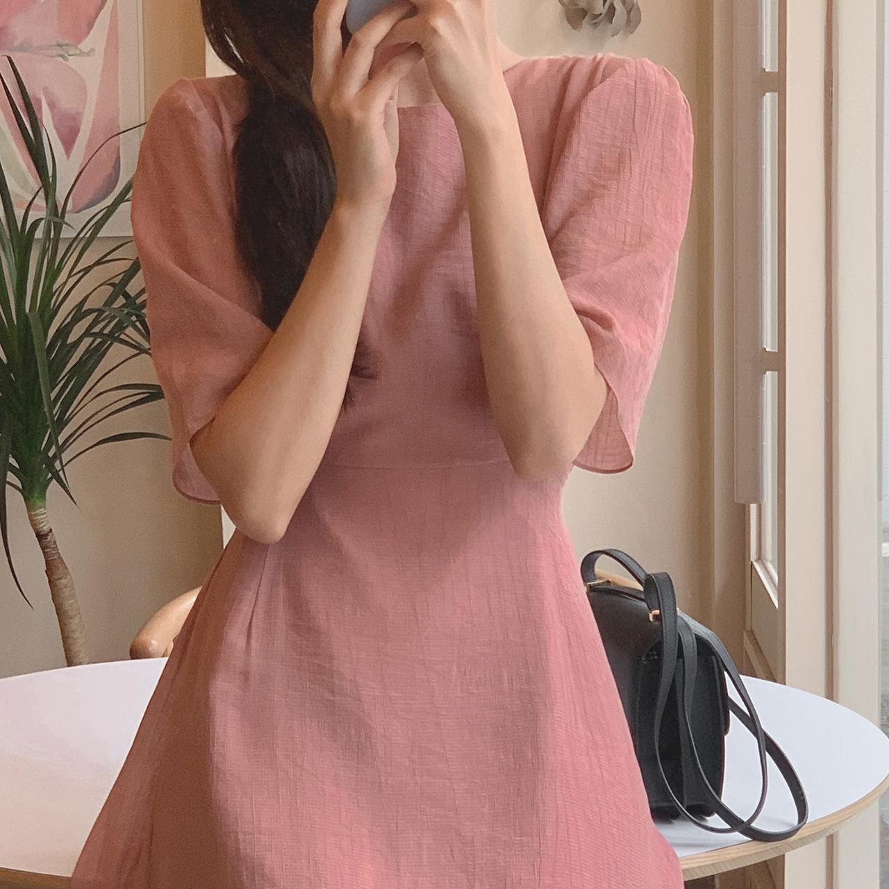 Pink shirring long dress